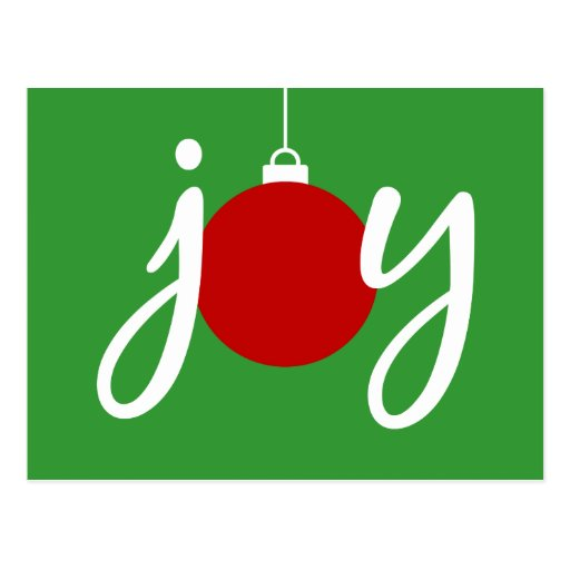 Joy Christmas Ornament Holiday Postcard