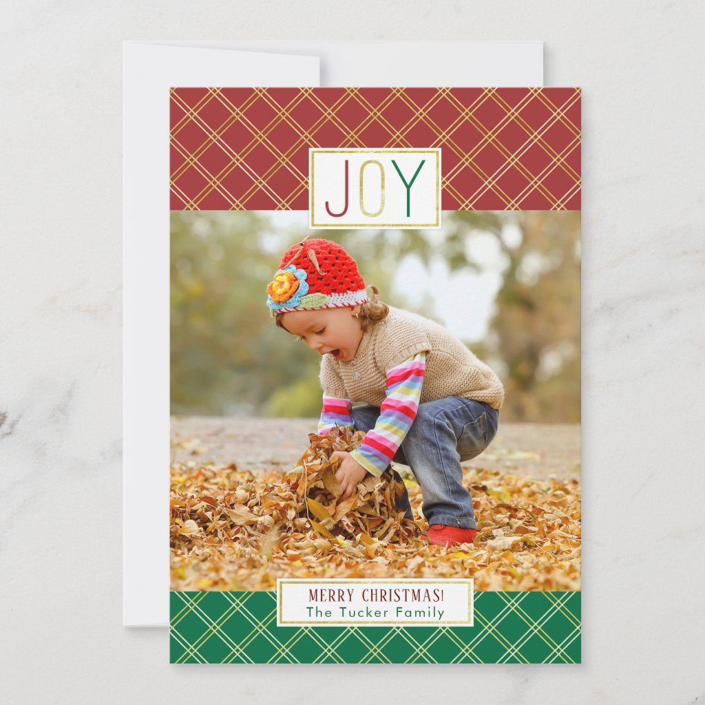 JOY Christmas Photo Card in Red Green and Gold