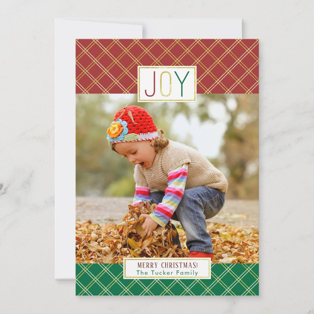 JOY Christmas Photo Red Green and Gold Foil Holiday Card