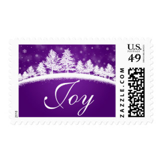 Joy Christmas Purple White Postage