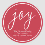 "Joy Christmas Round Red Return Address Label<br><div class=""desc"">Add a festive touch to your holiday correspondence with these red and white joy return address labels.</div>"