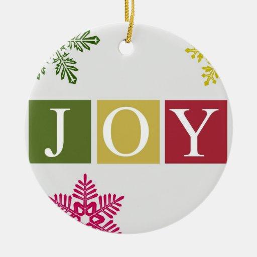 Joy christmas snowflakes ornament zazzle