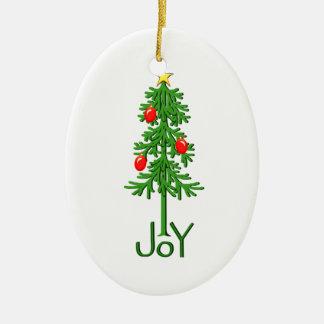 Joy Christmas Tree Ceramic Ornament