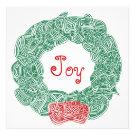 Joy Christmas Wreath Custom Announcement
