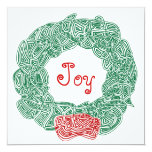 Joy Christmas Wreath 5.25x5.25 Square Paper Invitation Card
