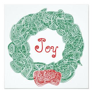 Joy Christmas Wreath 5.25x5.25 Square Paper Invitation Card