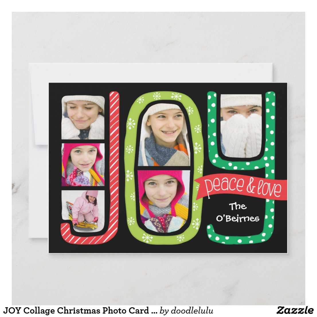 JOY Collage Christmas Photo Card Hand Drawn