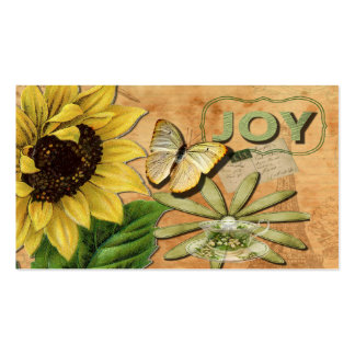 Joy Collage Vintage Eiffel Tower and Butterfly Business Card Template