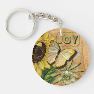 Joy Collage, Vintage Eiffel Tower and Butterfly Key Chain