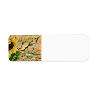 Joy Collage, Vintage Eiffel Tower and Butterfly Return Address Label