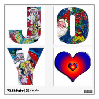 JOY COLORFUL HEARTS MUSICAL SANTA CHRISTMAS PARTY WALL STICKER