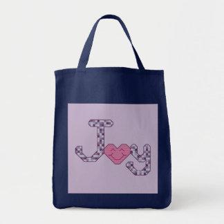 Joy Cross Stitch Tote Bags