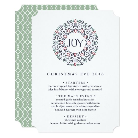 joy custom christmas eve dinner menu invitation