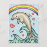 Joy - Cute Rainbow Dolphin Art Postcard