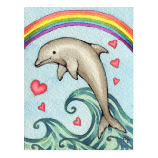 Joy - Cute Rainbow Dolphin Art Postcard