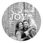 Joy Deer Antlers Holiday Christmas Mint Personalized Announcement