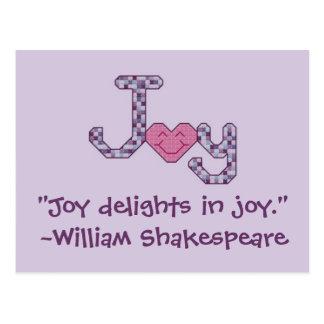 """Joy delights in joy."" ~William Shakespeare Postca Postcard"