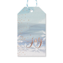 Joy | Dusty Grey Watercolor Ombre Wash Snowflakes Gift Tags