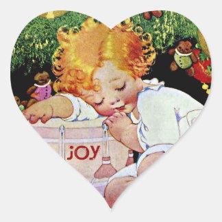Joy, Edwardian Christmas Heart Sticker