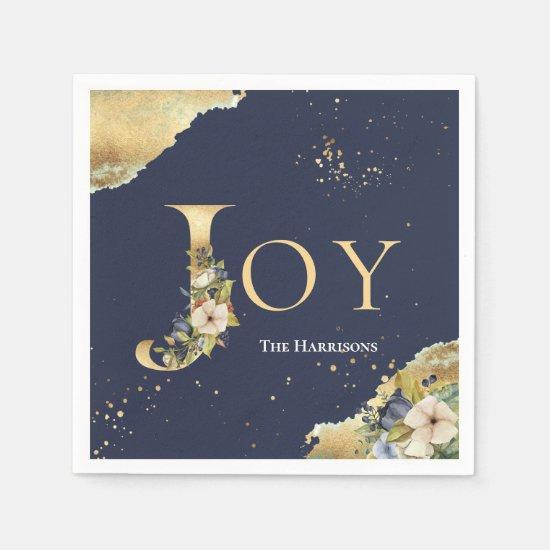 Joy Elegant Gold Foil Floral Blue Christmas Napkin
