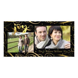 JOY, Elegant Gold Scroll & Dots on Editable Black Card