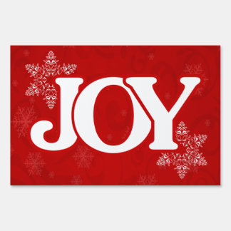 JOY Elegant Red Snowflake Pattern Christmas Sign
