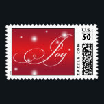 """JOY elegant script red white glow holiday stamp<br><div class=""""desc"""">These lovely sentiment stamps bear the greeting &quot;Joy&quot; against a red gradient background. Make an ever lasting impression with these stylish holiday postage.</div>"""
