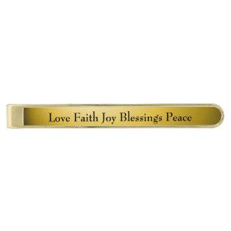 Joy faith love blessings peace gold finish tie clip