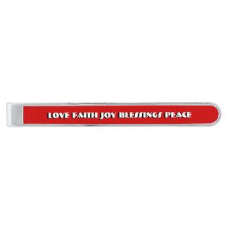 Joy faith love blessings peace silver finish tie clip
