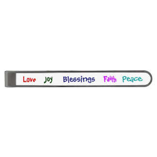 Joy faith love blessings peace gunmetal finish tie bar