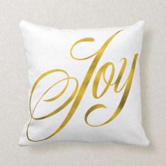 Joy Faux Gold Foil Christmas Script Lettering Text Throw Pillows