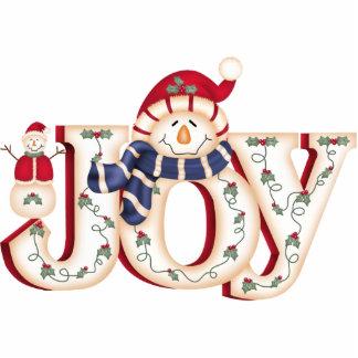 """""""JOY"""" Folk Art Snowman Photo Sculpture"""