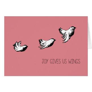 Joy Gives Us Wings Cute Customizable card
