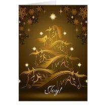 Joy! Gold Horses Christmas Tree Card