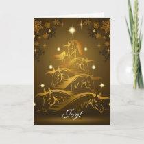 Joy! Gold Horses Christmas Tree Holiday Card