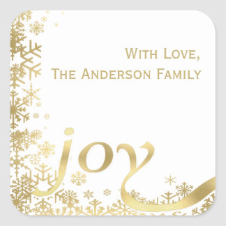 Joy Gold Snowflake Holiday Christmas Gift Tag