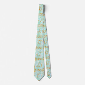 joy,gold text,on green water colour paint,floral,g neck tie