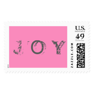 Joy Gray/Pink Postage Stamp All Size Options