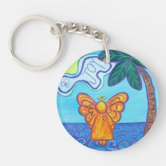 Joy Guardian Beach Angel Custom Keychain