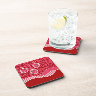 Joy Hanging Ornaments in Red and Pink Holiday Drink Coaster