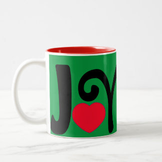Joy Heart Love Two-Tone Coffee Mug