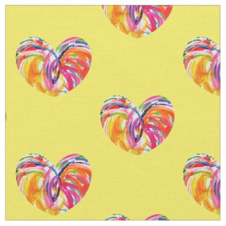 Joy Hearts Rainbow Fabric Art Material