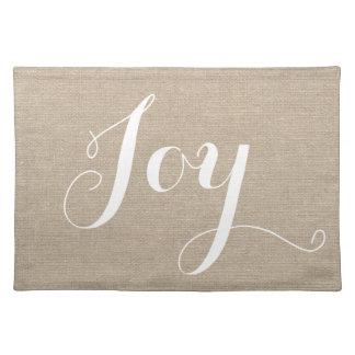 Joy holiday faux linen burlap rustic chic jute placemat