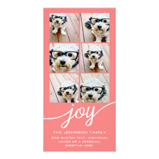 Joy Holiday Photo Collage Elegant Coral Peach Card