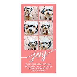 Joy Holiday Photo Collage Elegant Coral Peach Card