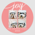Joy Holiday Photo Collage Elegant Coral Peach Classic Round Sticker