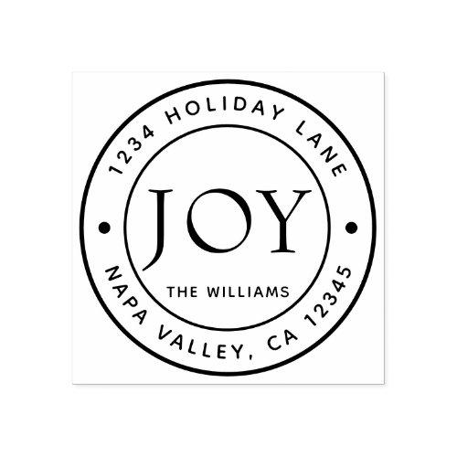 Joy Holiday Return Address Round Rubber Stamp
