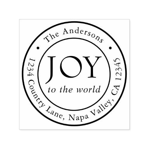 Joy Holiday Return Address Round Self_inking Stamp