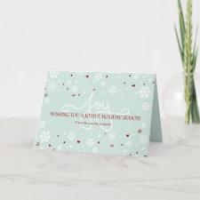 Joy Holiday Snowflakes Hearts Greeting Greeting Cards