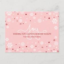 Joy Holiday Snowflakes Hearts Greeting V2 Postcards